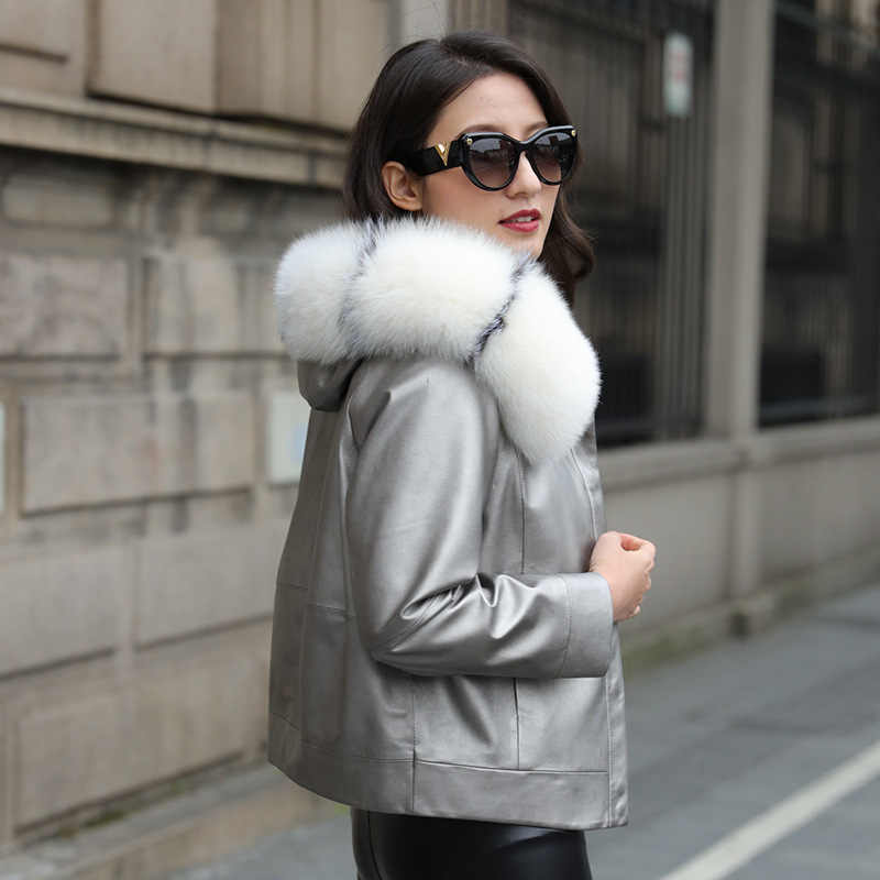 2020 prawdziwa skórzana kurtka puchowa kobiety zimowa kurtka