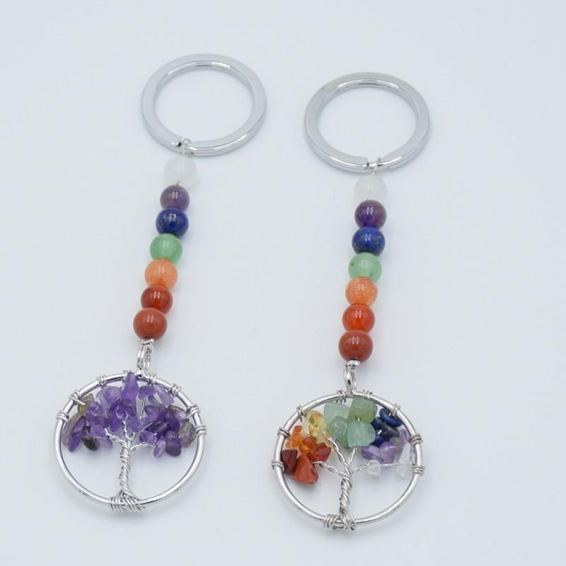 Брелок для ключей с натуральным кристаллом, 7 чакр