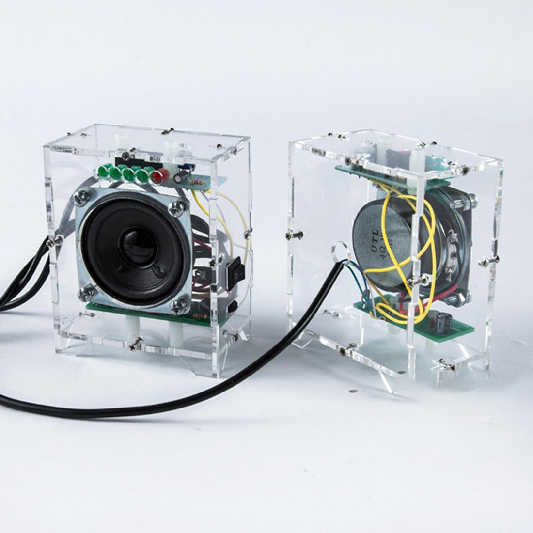 Hot 2Pcs DIY Mini Speaker Kit MP3 Small Speaker Sound Amplifier With LED Music Spectrum For Children Kids Early Educational Toys