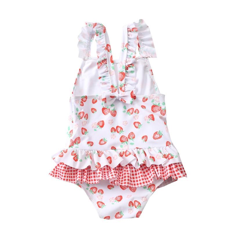 2019-KID'S Swimwear Strawberry Plaid South Korea GIRL'S Swimsuit Princess GIRL'S Swimwear Sun-resistant Siamese Swimsuit