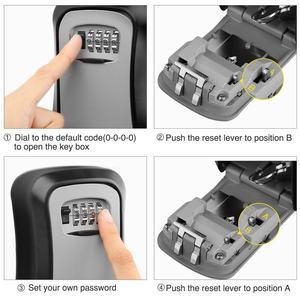 Image 3 - Nova caixa de bloqueio de chave de liga de alumínio montado na parede caixa de segurança de chave à prova de intempéries 4 dígitos combinação de armazenamento de chave caixa de bloqueio ao ar livre indoor