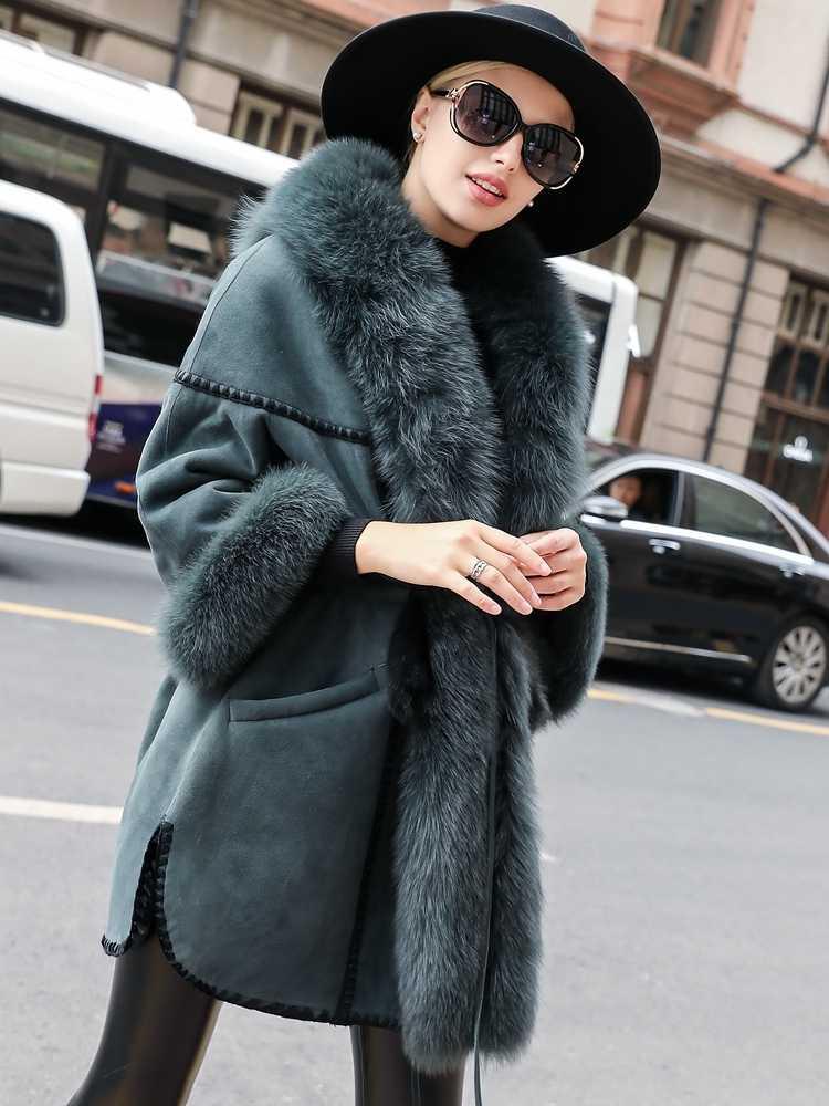 Luksusowe futro z podwójną twarzą kobiet kurtka z prawdziwej skóry kurtka zimowa kobiety kołnierz z futra lisa futra z naturalnej wełny MY