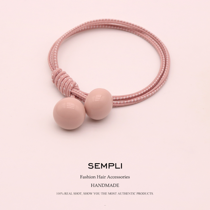 Sempli High Elasticity Nylon Candy Color Beads Basic Style For Women Elastic Hair Bands Kid Children Rubber Bands   Headwear