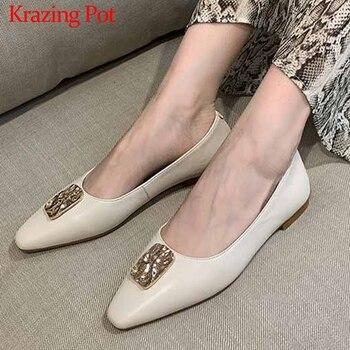 Krazing Pot big size elegant noble metal decorations genuine leather ladies shoes small square toe low heels women new pumps L51