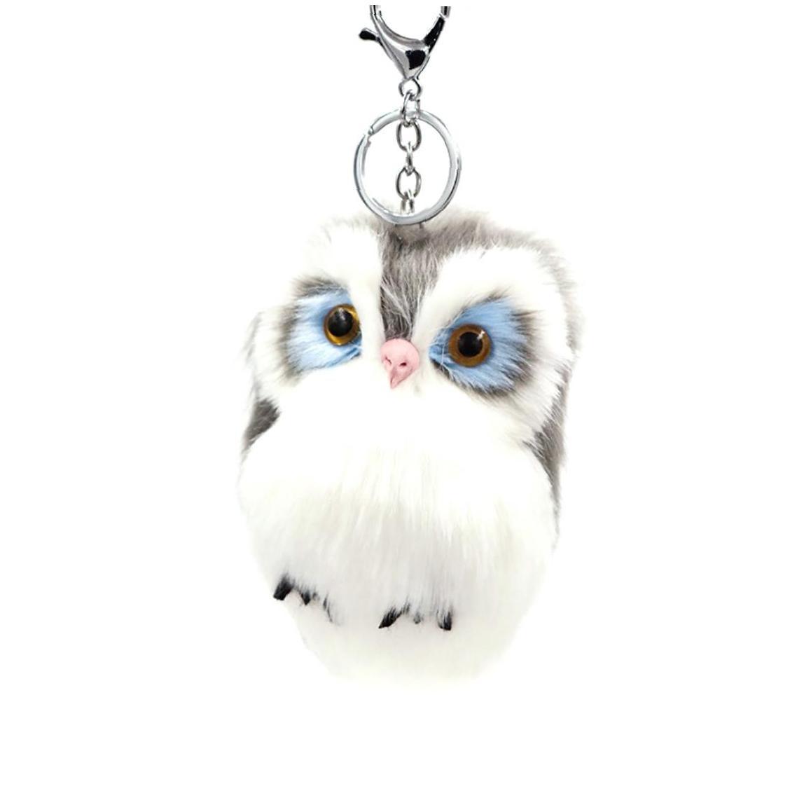 Fluffy Faux Fur Pompom Ball Keychain Cute Owl Pendant Handbag Car Charm Key Ring