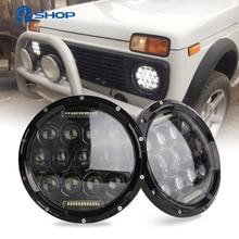 2x 75W 7 Led Headlight H4 High Low Beam Round Cars Running Lights for Jeep Lada Niva 4x4
