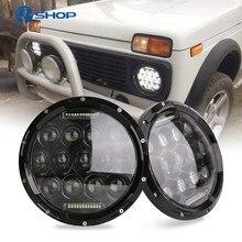 2x75w 7 led led led farol h4 alta baixa feixe de carros redondos luzes running para jeep lada niva 4x4