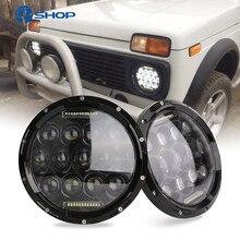 2x75W 7 Led Đèn Pha H4 Cao Chùm Thấp Tròn Xe Ô Tô Chạy Đèn cho Xe Jeep LADA Niva 4x4