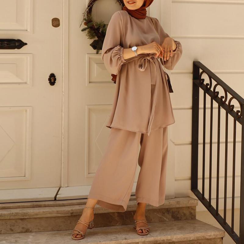 Eid Two piece Muslim Sets Abaya Turkey Hijab Dress Caftan Kaftan Islamic Clothing 2 Piece Set Women Musulman Ensembles Outfits