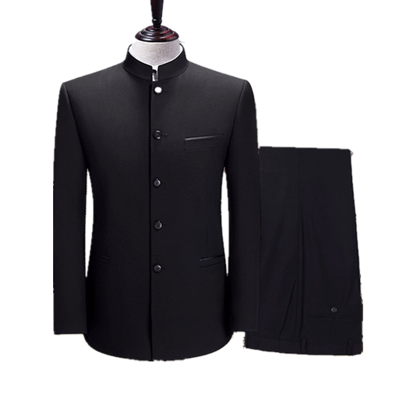 Men's Stand Collar Suit Chinese Style Slim Black Tunic 4XL XL Suit Two-piece Suit (Blazer + Pants) Business Chinese Style Suit