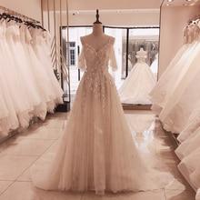 SL 5095 מסולי ספגטי רצועות תחרה עד חתונת שמלת 2020 חדש בית משפט רכבת הכלה שמלת אפליקציות 3D פרח קריסטל חתונת שמלות