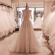 SL 5095 SuLi spagetti sapanlar Lace Up düğün elbisesi 2020 yeni mahkemesi tren gelinlik aplikler 3D çiçek kristal düğün abiye