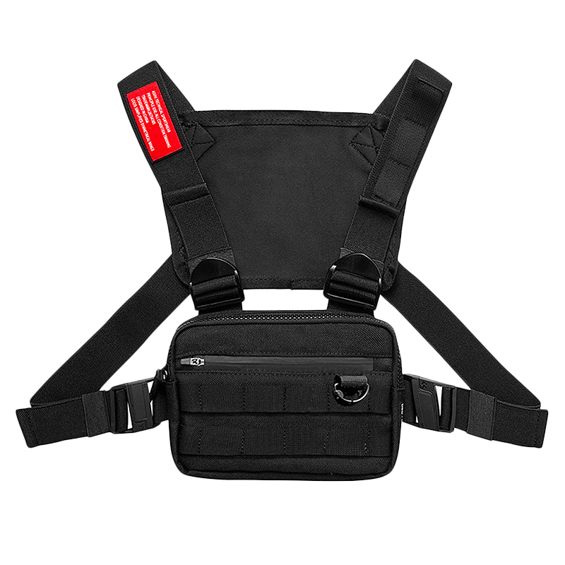 ASRV Chest Rig Men Bag Casual Function Outdoor Style Chest Bag Small Vest Bags Streetwear For Male Waist Bags Black