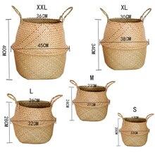 Handmade Bamboo Storage Baskets Foldable Laundry Straw Wicker Rattan Seagrass Belly Garden Flower Pot Planter Basket Home Decor