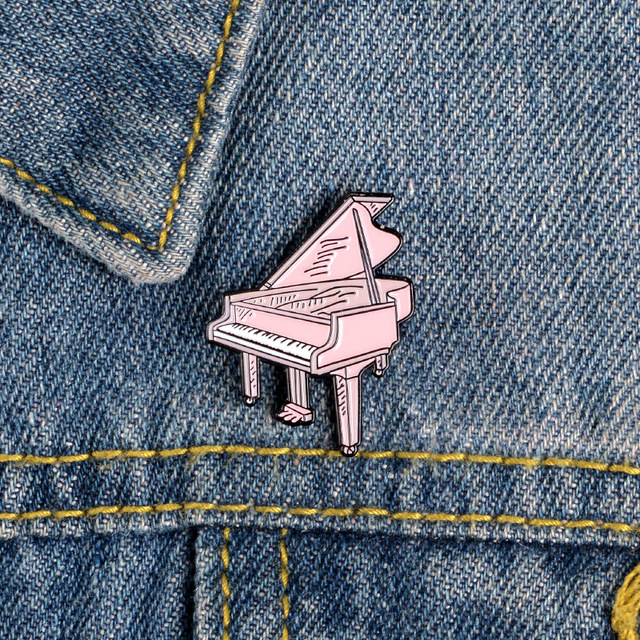 Pink Collection Enamel Pins Cartoon Recorder Typewriter Piano Lipstick Brooches Denim Shirt Backpack Gift For Friends Kids Women 4