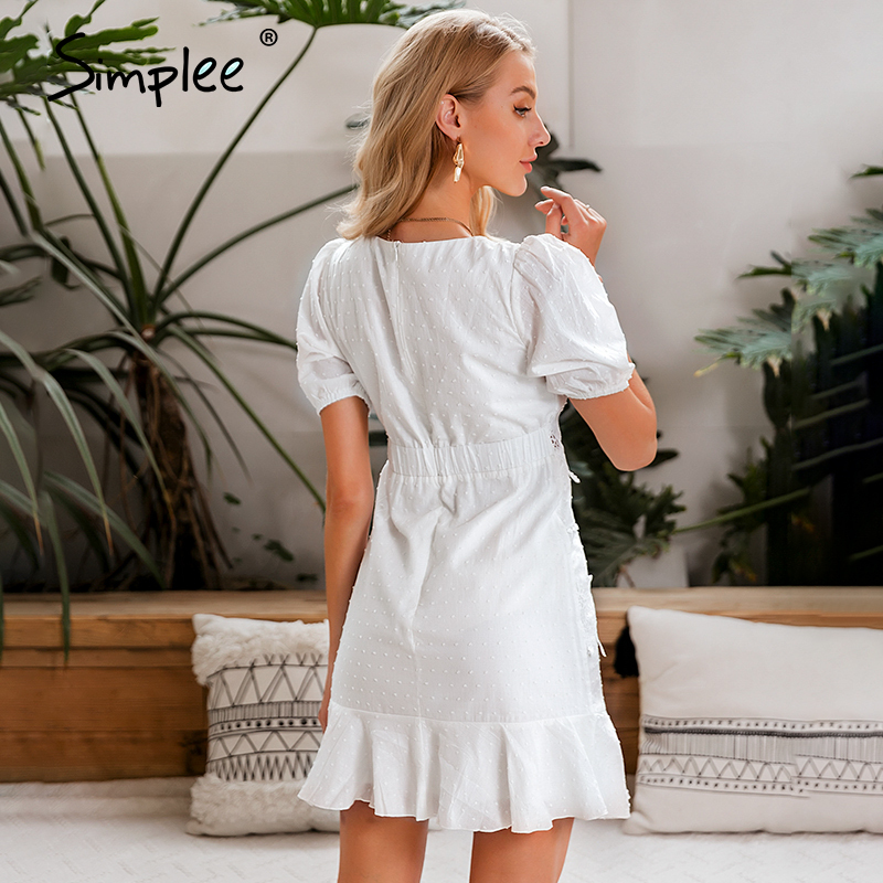 Image 3 - Simplee Women hollow out white dress Puff sleeve ruffled v neck bodycon dress Casual buttons beach work party retro summer dressDresses   -