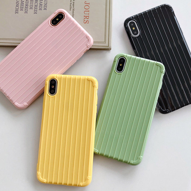 Candy Color Luggage Phone Cases for iPhone 7 XR 6 s p Soft Silicone Cute X Plus XS Max Case TPU Back Fundas