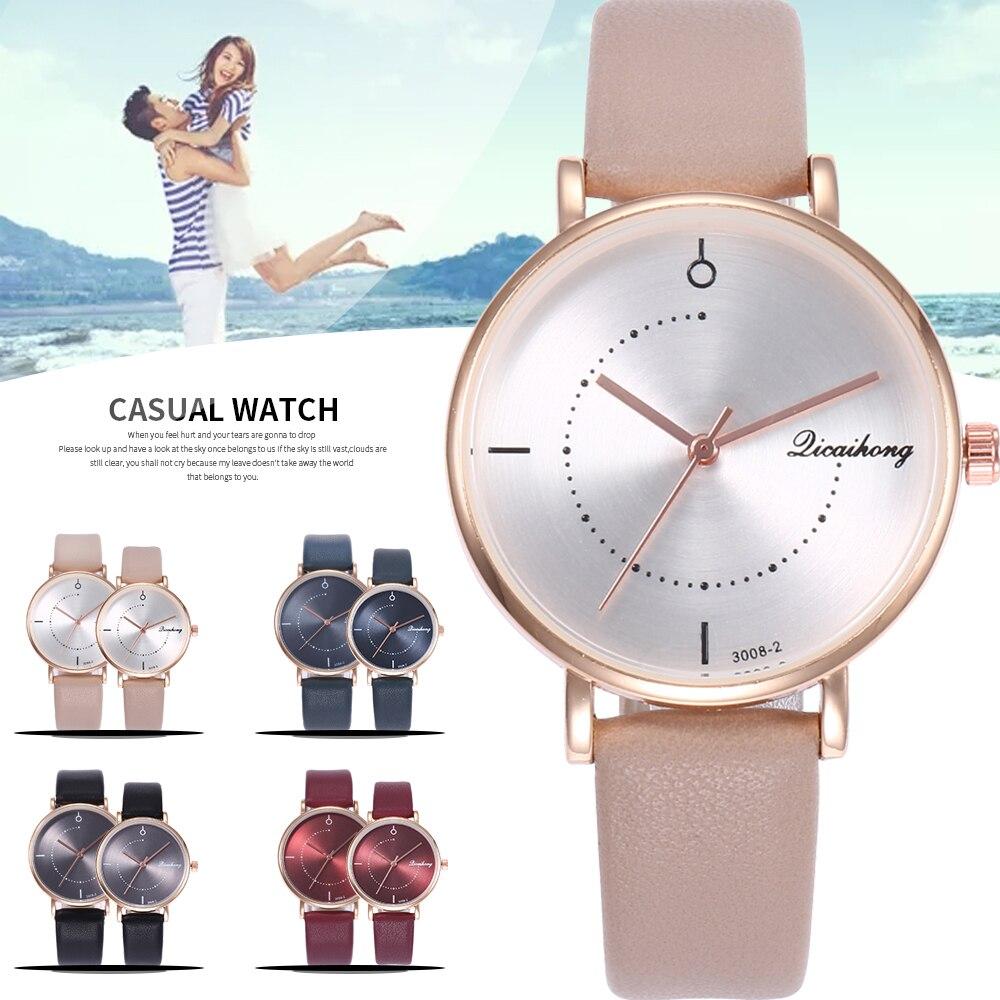 2Pc/Sets Lover's Watch Quartz Men Women Fashion Casua Couple Round WristWatch Leather Watchbands New Tags Reloj Mujer Relogios
