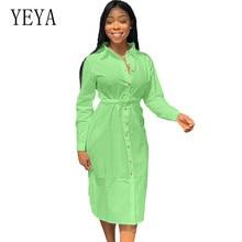 цены на YEYA Autumn Long Loose Maxi Dresses Women Button Down Shirt Dress Vestido Robe Vintage Long Sleeve Cotton Dress Plus Size 3XL в интернет-магазинах