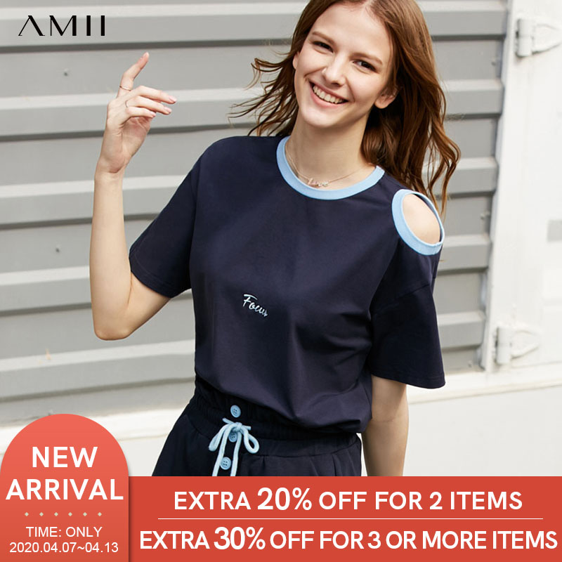 Amii Minimalist Patchwork Embroidery T-shirt Summer Women Solid Round Neck Short Sleeve Casual Female Tops 11930100