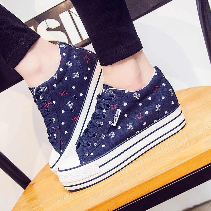 Màu Xanh dễ thương Cao Gót Giày cho Nữ Ẩn Wedge Sneaker 2019 Mới Fasion Nhiều Màu Sắc Giày Thể Thao Nữ Giày Chunkys Mujer
