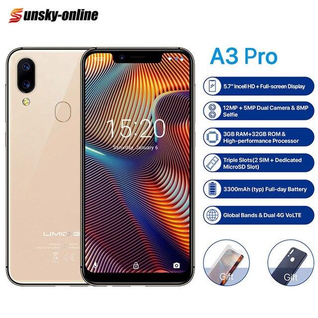 UMIDIGI A3 Pro العالمي المزدوج 4G الهاتف الذكي 5.7 2.5D كامل الشاشة 3GB + 32GB أندرويد 8.1 MTK6739 رباعية النواة 12MP + 5MP الهاتف المحمول