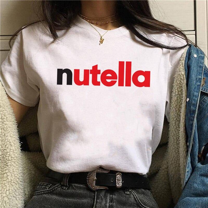 Nutella impresión T camisa verano de las mujeres Harajuku Ullzang nueva camiseta gráfico lindo de dibujos animados camiseta top Mujer verano playa Bikini cubrir Crochet traje de baño Pareos vestido traje de baño AU