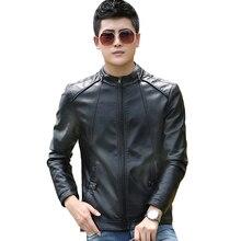 2019 Autumn Winter Fashion Stand Collar Pu Leather Jacket Motorcycle Men Plus Size 5XL Black Faux Coats Biker