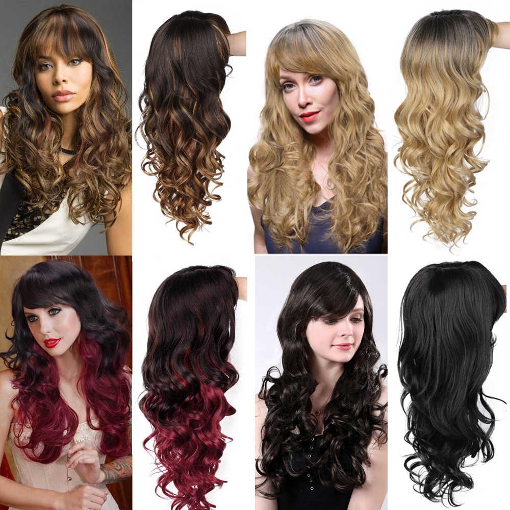 Damgalı muhteşem kadın peruk dalga peruk sentetik uzun peruk Ombre siyah sarı saç patlama ile ısıya dayanıklı iplik