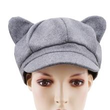 Hats Octagonal-Cap Newsboy-Caps Plain Winter Women Autumn Solid Wool for Felt Ear Cat