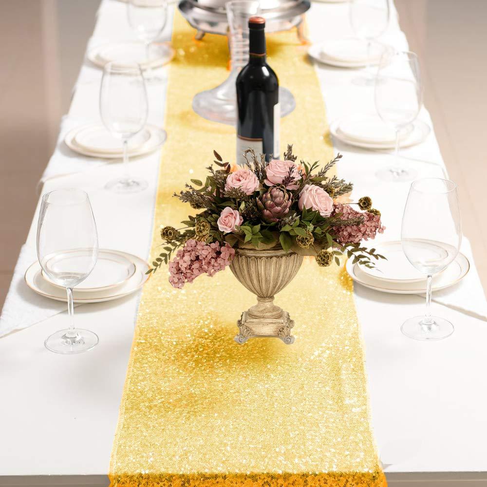 Promotion! 2Packs 12 X 108Inch Glitter Gold Sequin Table Runner for Birthday Wedding Engagement Bridal Shower Baby Shower Bachel Table Runners     - title=