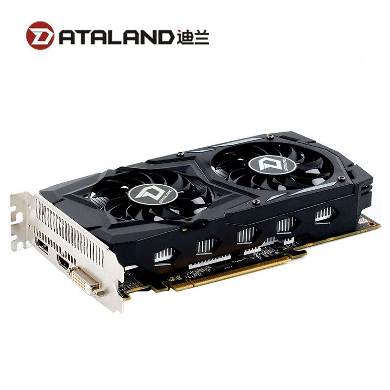 Видеокарта DATALAND RX 460 2 Гб GPU для AMD Radeon RX460 2G графические карты DVI Core 1212 МГц видеопамять 7000 МГц игровая Карта Б/у