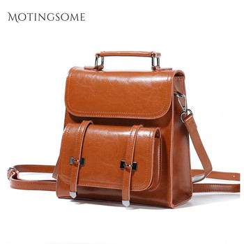 Retro Style Genuine Leather Backpack Top Quality Cowhide Leather Vintage Backpack Luxury School Bag Mochila for Ladies 2020 New