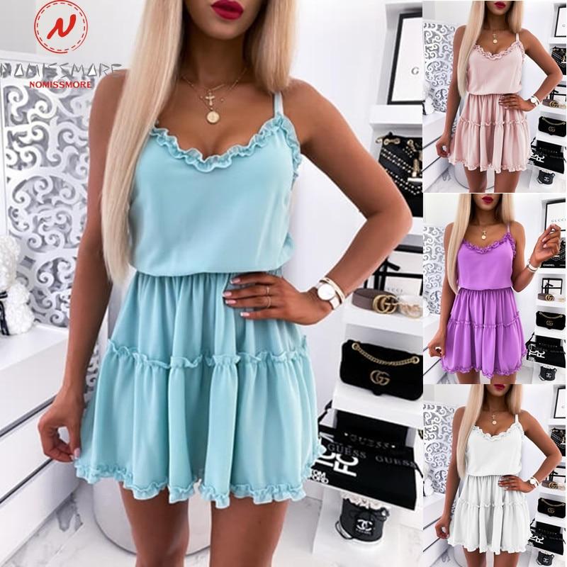 Sexy Women Summer Solid A-Line Dress Patchwork Design Ruffles Decor Sling Sleeveless V-Neck Mid Waist Slim Pullovers Mini Dress