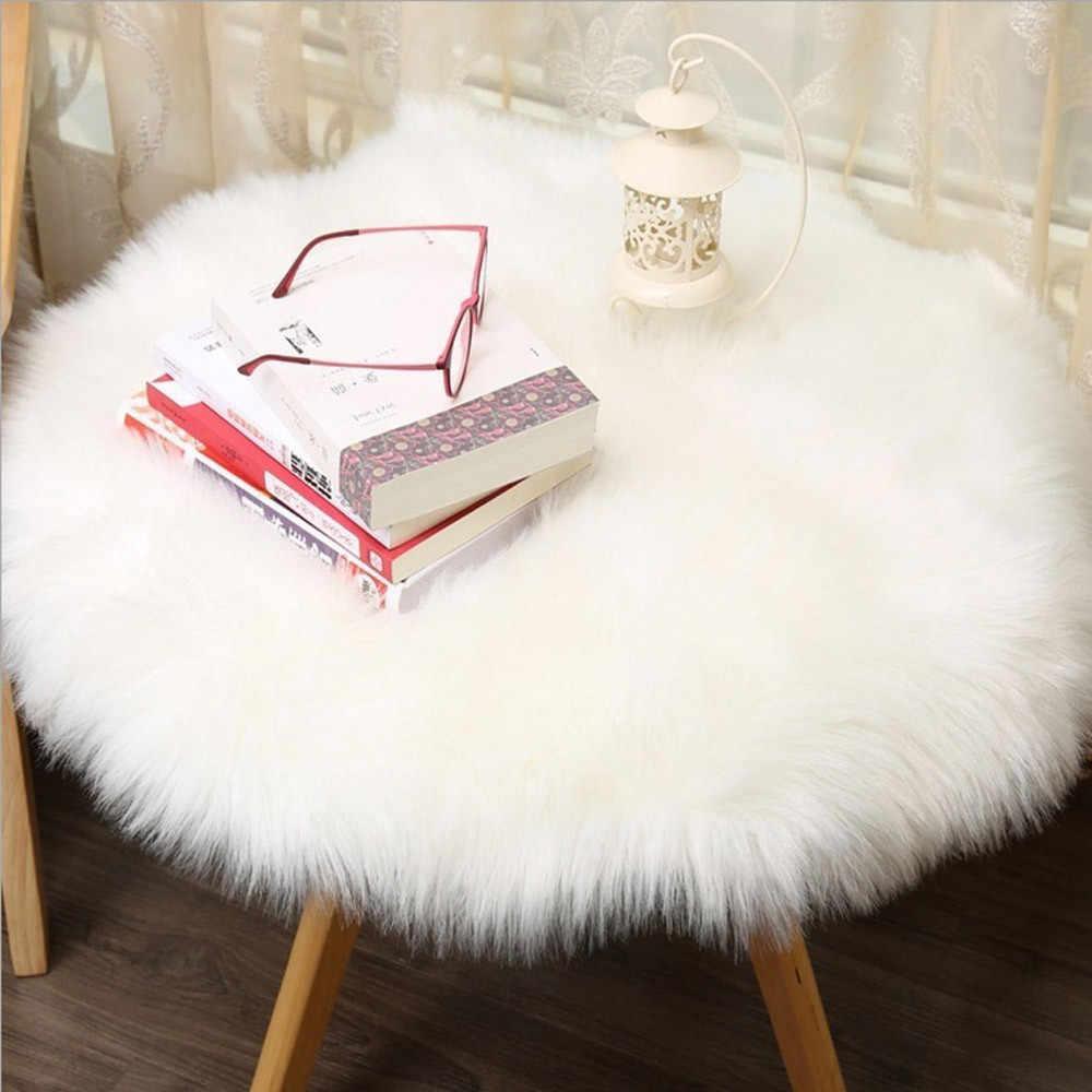 Alfombra de piel sintética de oveja suave funda para silla de lana sintética cálida alfombra peluda asiento textura lisa piel lisa arte esponjoso decoración natural para el hogar F99