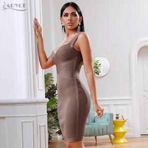 Image 5 - ADYCE 2020 yeni yaz bandaj parti elbise kadınlar seksi kolsuz spagetti kayışı Bodycon Midi haki ünlü akşam kulübü elbise