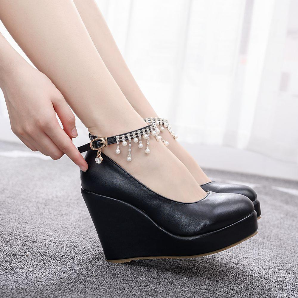 Crystal Queen Black And White Wedge Pumps Large Size Round Toe Super High Heel Lady Women Shoes Platform Ankle Strap Casual