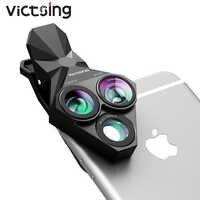 VicTsing PA092 Lens Camera Kits Fisheye Lens 20X Macro Lens 0.65X Wide Angle Lens Phone Lens For iPhone 8 7 6 Plus Galaxy S7 S6