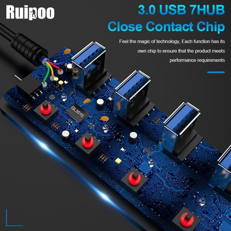 USB Hub 3.0 High Speed 4 / 7 Port USB 3.0 Hub Splitter On/Off Switch with EU/US Power Adapter for MacBook Laptop PC HUB USB 3.0 3