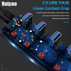 Image 3 - USB Hub 3.0 High Speed 4 / 7 Port USB 3.0 Hub Splitter On/Off Switch with EU/US Power Adapter for MacBook Laptop PC HUB USB 3.0