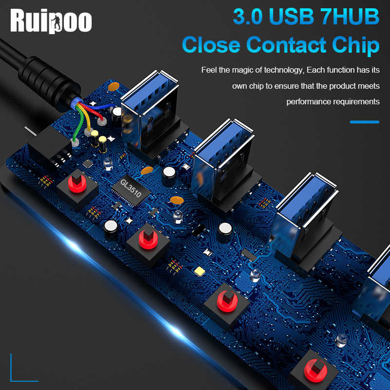 Usb Hub 3.0 High Speed 4 / 7 Port Usb 3.0 Hub Splitter On/Off Schakelaar Met Eu/us Power Adapter Voor Macbook Laptop Pc Hub Usb 3.0