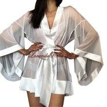Женщины сексуальная пижама шифон шорты халат свадебный подарок медовый месяц вечер платье кимоно перспектива прозрачная халат свадьба одежда для сна