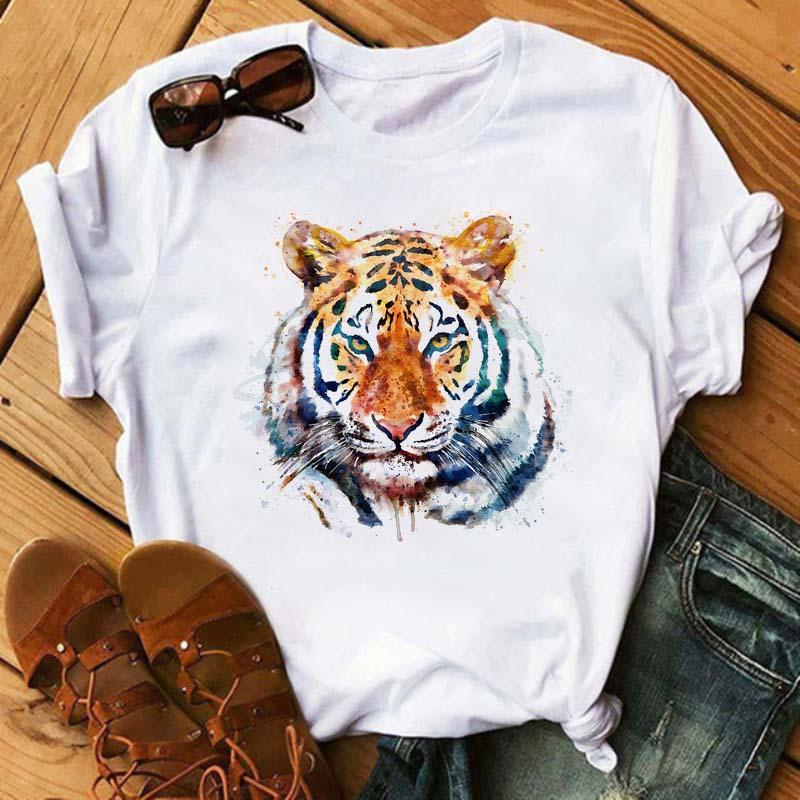 Maycaur New Summer Women Tops Cartoon Tiger Graphic Printed T Shirt Fashion Round Neck Woman Clothing Short Sleeve Tshirts Tees