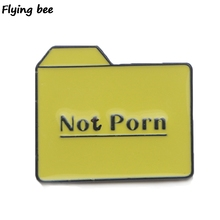 Flyingbee Not Porn Floder Pin Funny Brooch and Clothes Enamel Pins Badges Shirt Lapel pin Brooches Jewelry gifts X0449