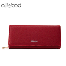 aliwood Brand Designer Long Women Wallet Zipper Purses PU Leather Simple Female Wallets Quality Coin Purse Card Holder Carteras amazing designer simple wallet women purse long wallet card holders bag carteras famous brand womens wallets and purses lucky