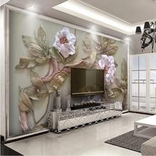 Роскошные пользовательские фото обои 3D европейский стиль Лебединое листья, цветы гостиной телевизор фоне стены декор настенной росписи papel де parede