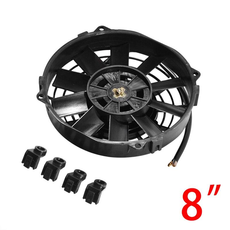Universale 8/9/10/12/14 Inch 12V 80W 2100RPM Auto Aria Condizionata di Raffreddamento Elettronico ventilatore Dritto Lama Nera Freddo Elettrico Kit