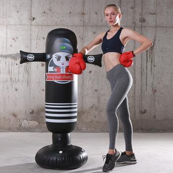 160cm nadmuchiwany worek bokserski dla dorosłych dzieci bokserski dziurkacz cel treningowy zagęścić torba z piaskiem siłownia Stress Release narzędzie do ćwiczeń tanie i dobre opinie CN (pochodzenie) Kategoria worka z piaskiem 3 lat Punching Bag Inflatable Boxing Bag Inflatable Training Bag