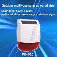PGST-Luz estroboscópica inalámbrica para sistema de seguridad del hogar, dispositivo luminoso solar de 433 MHz, con sirena de alarma a prueba de agua, antirrobo, con WiFi y GSM, para exteriores