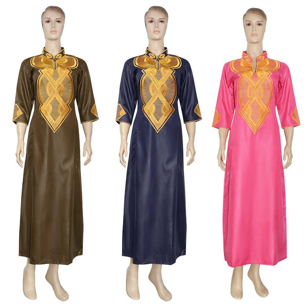 MD דרום אפריקאי מסורתי ללבוש דאשיקי מקסי שמלות לנשים בתוספת גודל בגדי זהב רקמת ליידי שמלת חלוק מסיבת חתונה